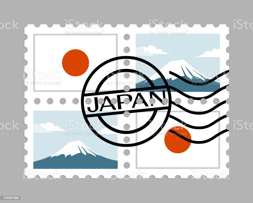 Japan flag and mountain fuji on postage stamps vector art illustration