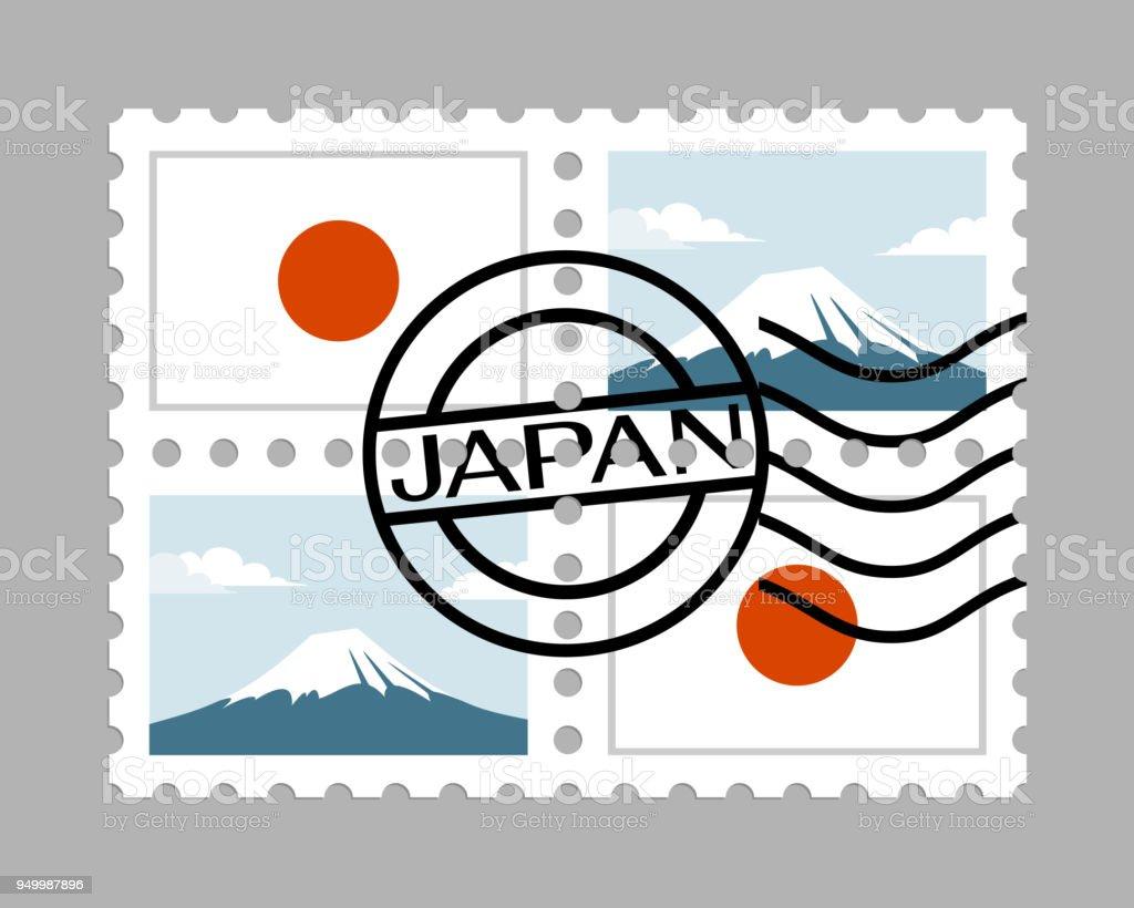 Japón bandera y montaña fuji en sellos postales - ilustración de arte vectorial