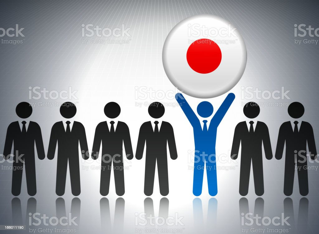 Japan Flag Button with Business Concept Stick Figures royalty-free japan flag button with business concept stick figures stock vector art & more images of achievement