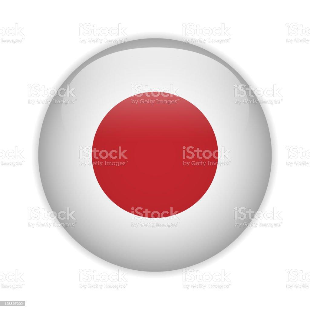 Japan Flag Glossy Button vector art illustration