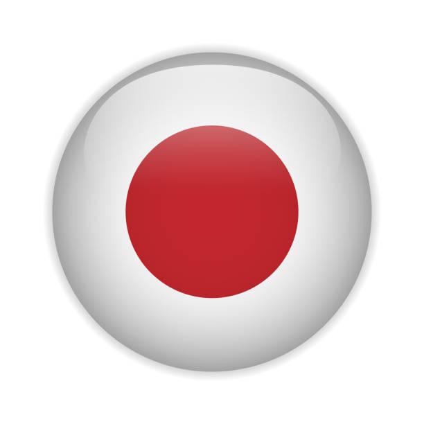 ilustraciones, imágenes clip art, dibujos animados e iconos de stock de bandera de japón botón brillante - bandera japonesa