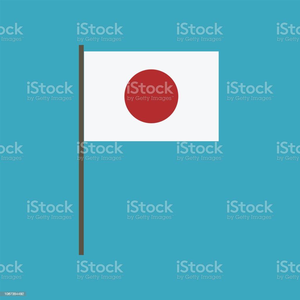 Japan flag icon in flat design vector art illustration