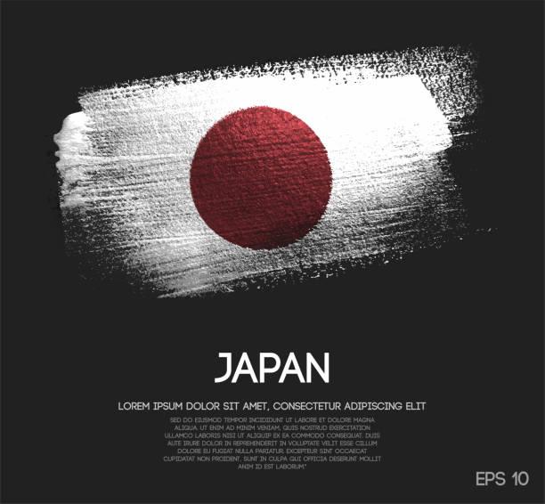 ilustraciones, imágenes clip art, dibujos animados e iconos de stock de bandera de japón de brillo brillo brocha pintura vectorial - bandera japonesa