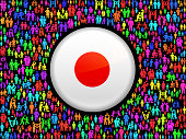 Japan Flag on royalty free vector Family interface icon Pattern. This vector art background features family stick figures of men, women, seniors and children. The colorful pattern can be used for love and relationship concepts. File download includes vector art and jpg file.