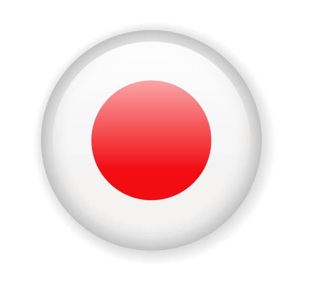 ilustraciones, imágenes clip art, dibujos animados e iconos de stock de bandera de japón. icono redondo brillante sobre un fondo blanco - bandera japonesa