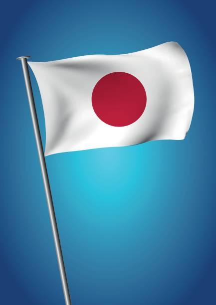 ilustraciones, imágenes clip art, dibujos animados e iconos de stock de japón bandera ondeando en el cielo vector hinomaru nisshoki - bandera japonesa