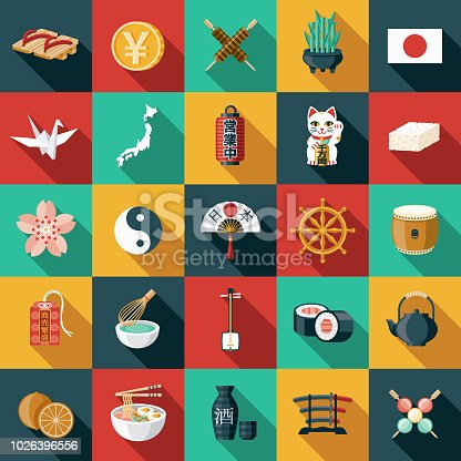 A set of 25 Japanese icons. File is built in the CMYK color space for optimal printing, and can easily be converted to RGB. Color swatches are global for quick and easy color changes throughout the entire set of icons.