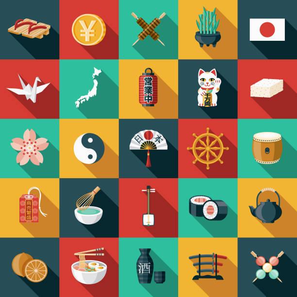 日本のフラットなデザイン アイコンを設定 - ラーメン点のイラスト素材/クリップアート素材/マンガ素材/アイコン素材