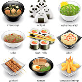 Japan food icons detailed photo realistic vector set