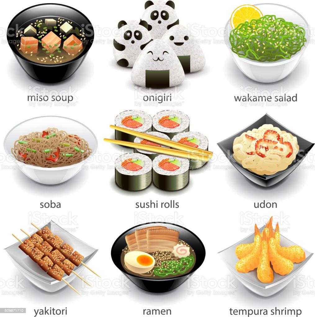Plats icônes vectorielles ensemble du Japon - Illustration vectorielle