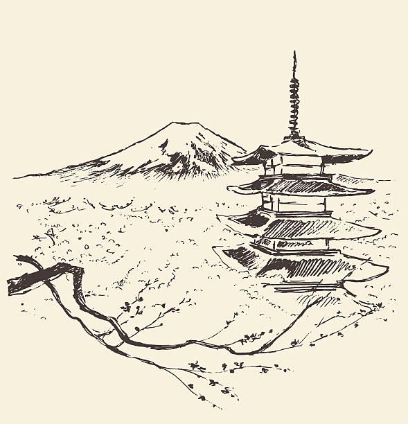 bildbanksillustrationer, clip art samt tecknat material och ikoner med japan fuji mountain pagoda and cherry blossoms - japanskt ursprung