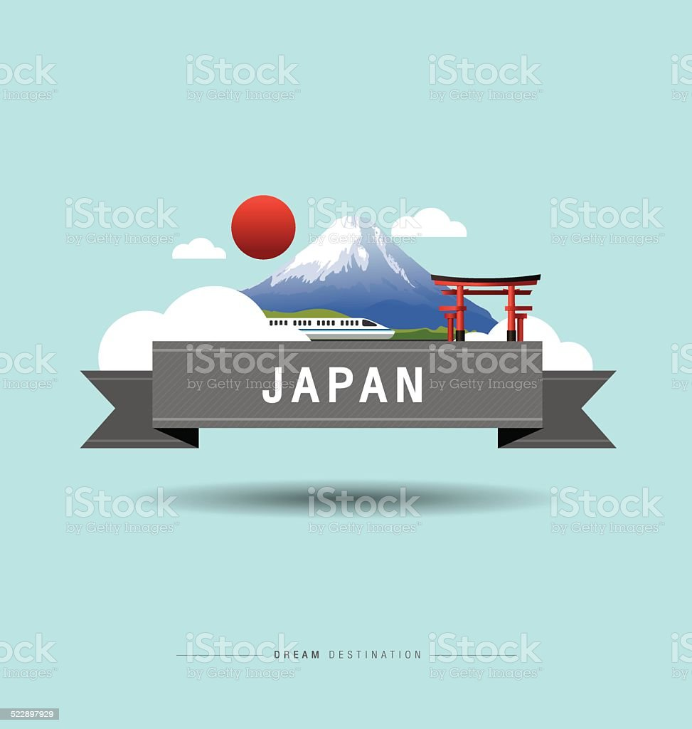 Japan, Fuji Mountain, travel, Landmark vector art illustration