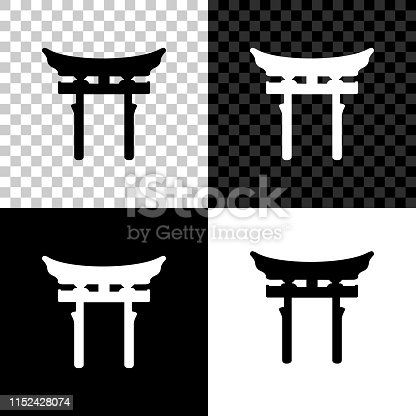 Japan Gate icon isolated on black, white and transparent background. Torii gate sign. Japanese traditional classic gate symbol. Vector Illustration