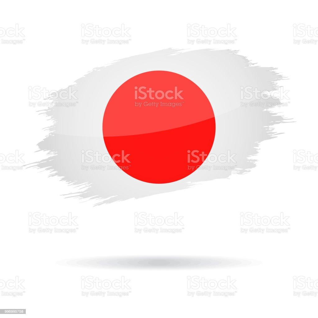 Japón - Grunge bandera Vector icono brillante - ilustración de arte vectorial