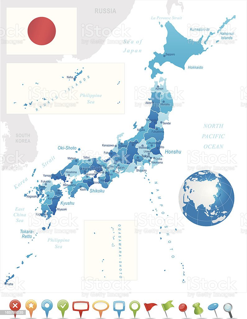 Japan - highly detailed map royalty-free stock vector art