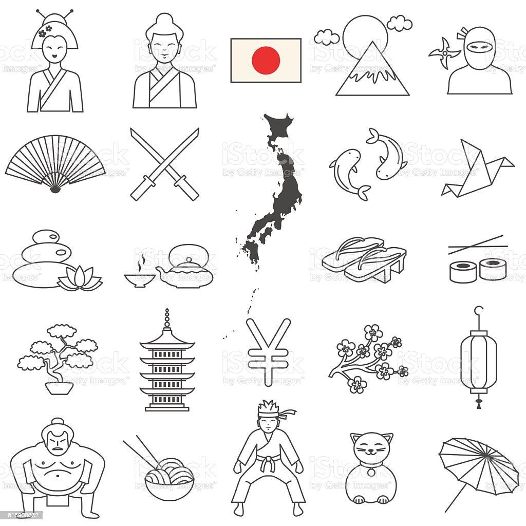 Conjunto de ícones do Japão - ilustração de arte em vetor