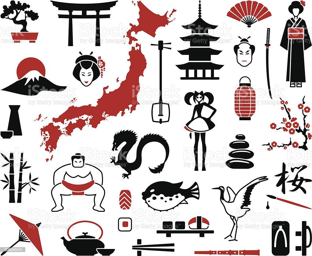 Japan icons vector art illustration