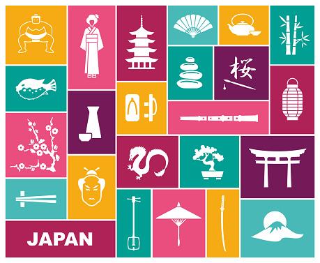 Japan icons. Vector illustration. Flat icon traditional symbols of Japan