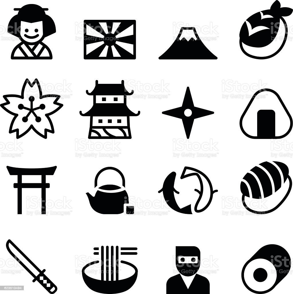 japan icons vector symbol stock vector art amp more images