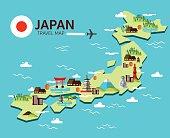 Japan landmark and travel map.