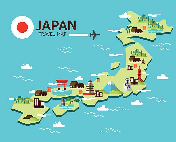 illustrazioni stock, clip art, cartoni animati e icone di tendenza di simbolo del giappone e di viaggio mappa. - solo giapponesi