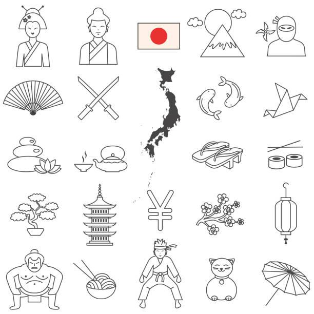 japan-linie-icon-set. vektor - sumo stock-grafiken, -clipart, -cartoons und -symbole