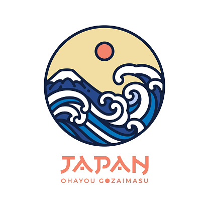 Japan logo design and wave water vector.