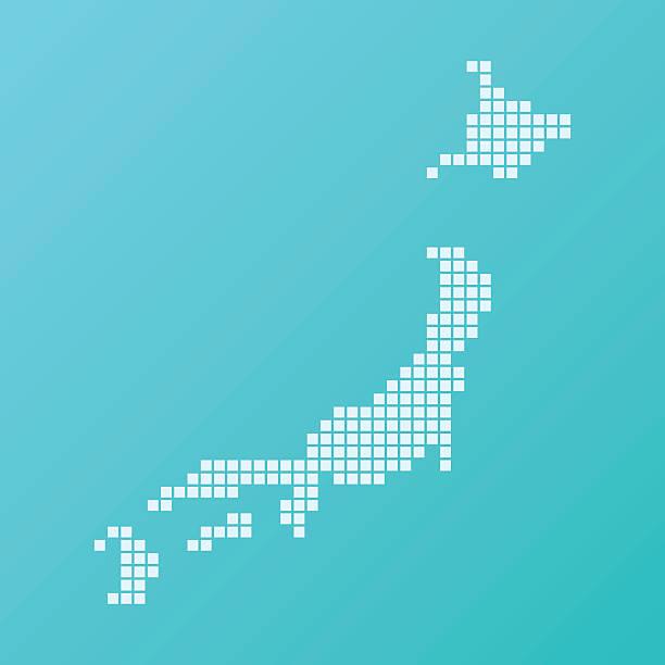 日本地図ベーシックスクエア模様のターコイズ - 日本 地図点のイラスト素材/クリップアート素材/マンガ素材/アイコン素材
