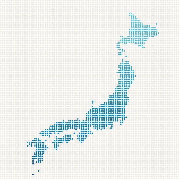 日本地図ブルーの水玉模様 - 日本 地図点のイラスト素材/クリップアート素材/マンガ素材/アイコン素材