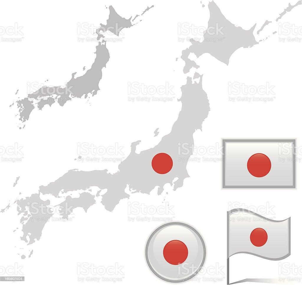 Japan map & flag royalty-free stock vector art