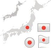 Japan map & flag