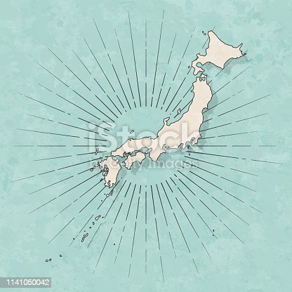 Map of Japan in a trendy vintage style. Beautiful retro illustration with old textured paper and light rays in the background (colors used: blue, green, beige and black for the outline). Vector Illustration (EPS10, well layered and grouped). Easy to edit, manipulate, resize or colorize.