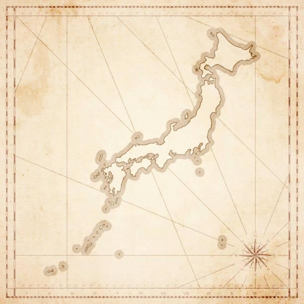 レトロなビンテージ スタイルの古いテクスチャ紙の日本地図 - ビンテージの地図点のイラスト素材/クリップアート素材/マンガ素材/アイコン素材