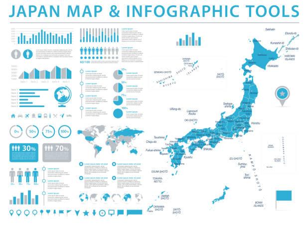 일본 지도-정보 그래픽 벡터 일러스트 레이 션 - 가나가와 stock illustrations