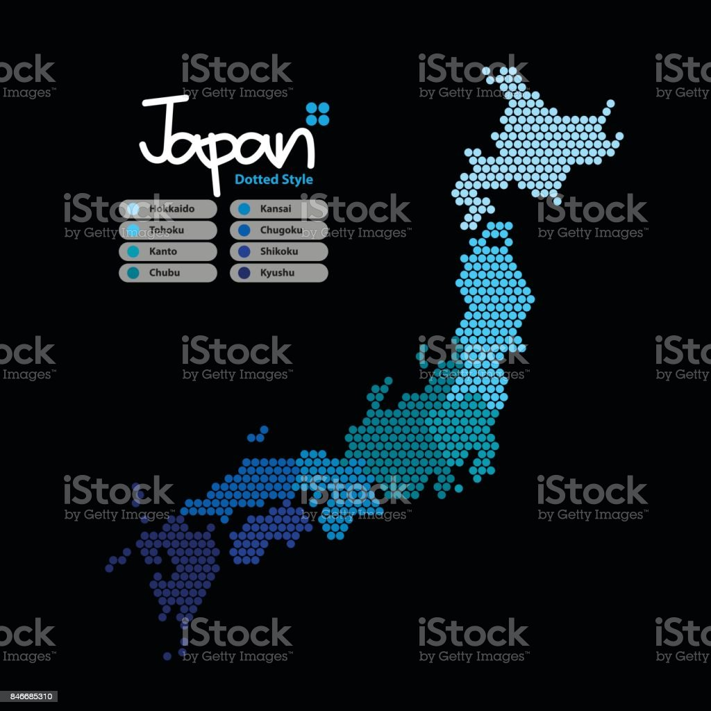 Japan Map of circle shape with the continent in a different blue color on a black background. Vector illustration dotted style. vector art illustration