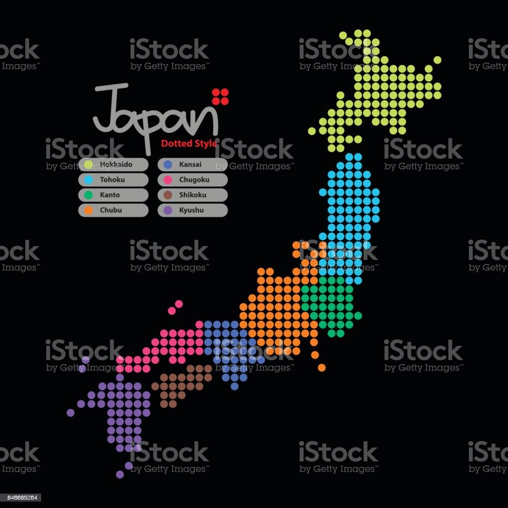 Japan Map of circle shape with the provinces colorful on a black background. Vector illustration dotted style. vector art illustration