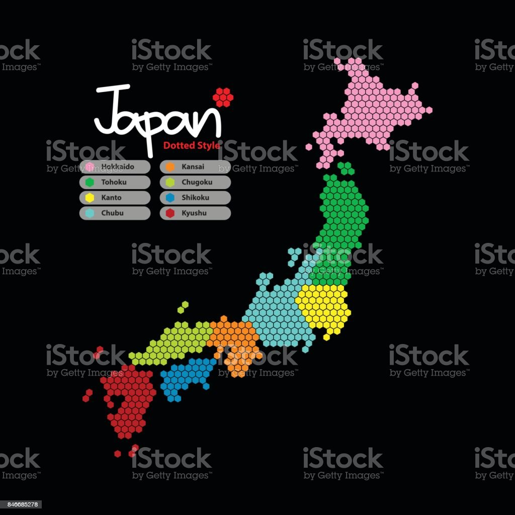 Japan Map of Hexagon shape with the continent in a different color on a black background. Vector illustration dotted style. vector art illustration