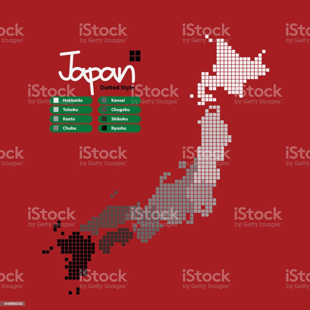 Japan Map of pixel shape with the continent in a different gray color on a red background. Vector illustration dotted style. vector art illustration