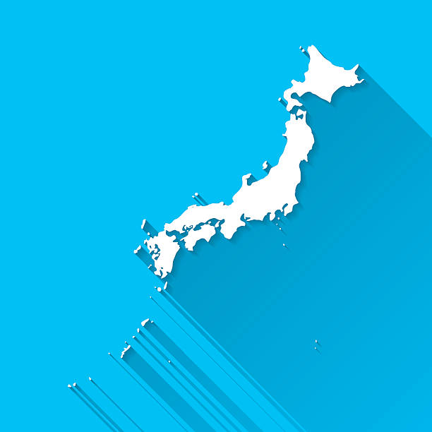 日本地図青色の背景に、フラットなデザイン、長い影、 - 日本 地図点のイラスト素材/クリップアート素材/マンガ素材/アイコン素材