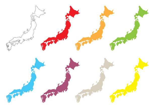 日本地図セット ベクターアートイラスト