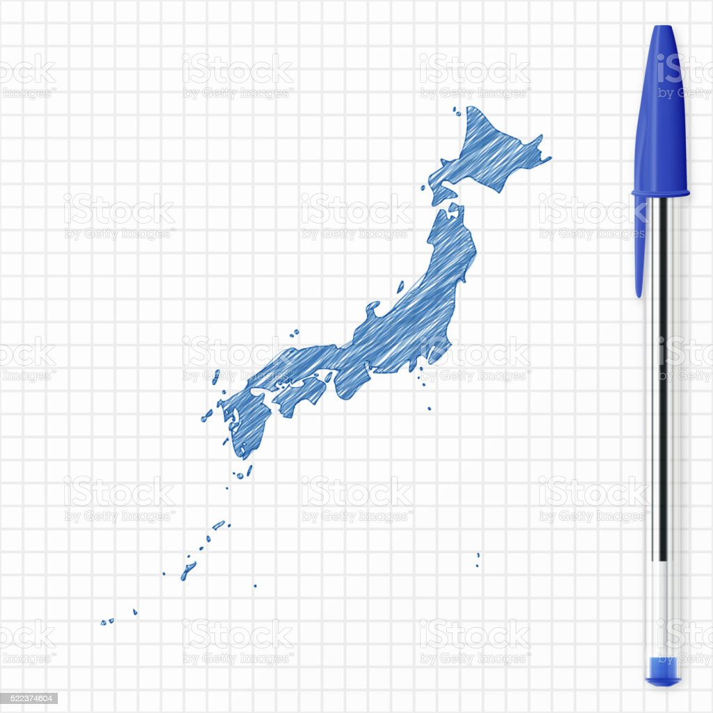 Japan Map Sketch On Grid Paper Blue Pen Stock Vector Art - Japan map sketch