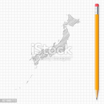 Japan Map Sketch With Pencil On Grid Paper Stock Vector Art - Japan map sketch