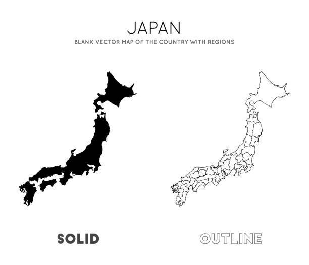 ilustrações de stock, clip art, desenhos animados e ícones de japan map. - japão