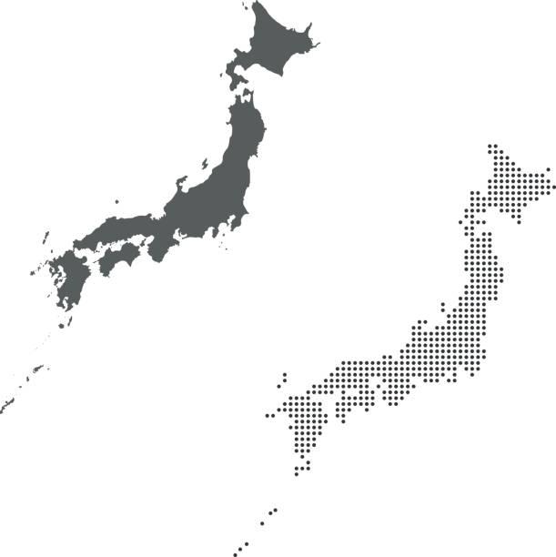 Japan map – artystyczna grafika wektorowa