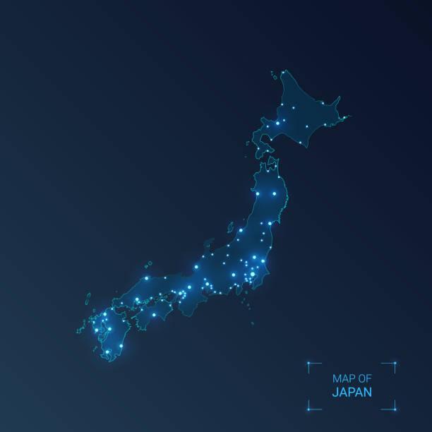 日本は都市と地図を持っています。発光ドット - 暗い背景にネオンライト。ベクターの図。 - 地球 日本点のイラスト素材/クリップアート素材/マンガ素材/アイコン素材