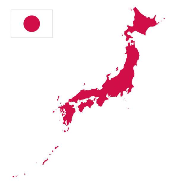 ilustraciones, imágenes clip art, dibujos animados e iconos de stock de mapa de japón con la bandera - bandera japonesa
