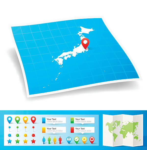 日本のロケーションマップピン、白背景 - アジア旅行点のイラスト素材/クリップアート素材/マンガ素材/アイコン素材