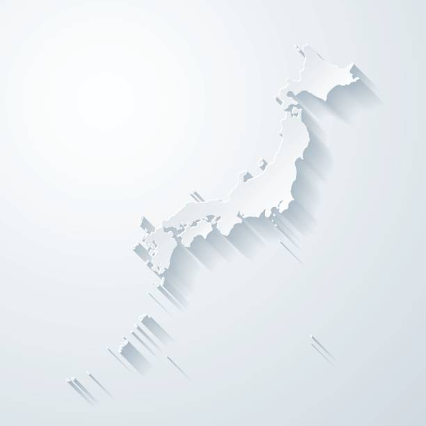 紙で日本地図カット空白の背景の効果 - 日本 地図点のイラスト素材/クリップアート素材/マンガ素材/アイコン素材