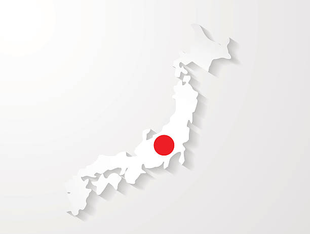 ilustraciones, imágenes clip art, dibujos animados e iconos de stock de mapa de japón con efecto de sombra presentación - bandera japonesa