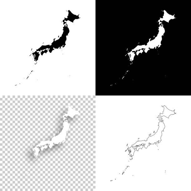 日本マップ デザイン - 空白、白と黒の背景 - 日本 地図点のイラスト素材/クリップアート素材/マンガ素材/アイコン素材